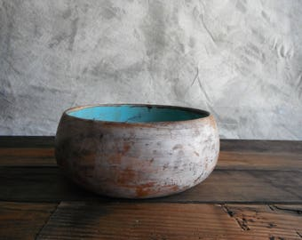 Bison Bowl in Turquoise and Frosty Glaze