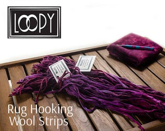 Rug Hooking Wool Strips Purple (Mulberry) Hand Dyed 100% wool for rug hooking (50 Strips)