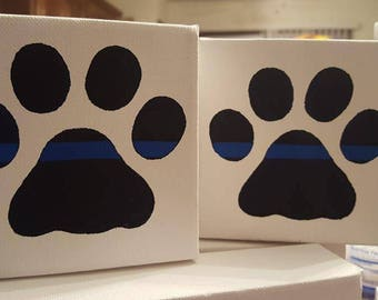 Thin Blue or Red Line Paw Canvas