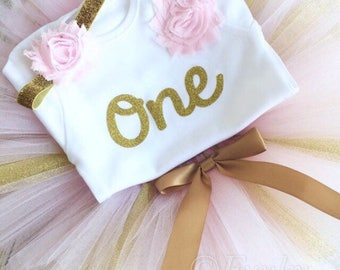 Pink & Gold Birthday Tutu Outfit, Gold Glitter Number Top, Matching Headband 1-8yrs, Baby Girl, Photoshoot, Cake Smash, Party, Gift