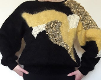 Black mohair sweater, yellow