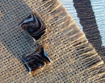 Set of 2 beads MURANO style rectangular black 16x14mm