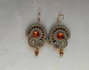 Soutache earrings, Elegant earrings, Boho earrings