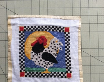 Cross stitched rooster