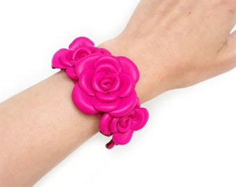 Hot Pink Leather Roses Bracelet Leather Bracelet Gift For Woman For Her Leather Cuff Leather Jewelry Leather Design Gift Idea