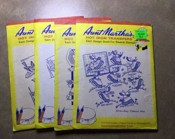 Set of Four Vintage Aunt Martha's Hot Iron Transfers c1990s