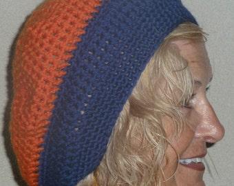 Blue and Orange team hat, original handcrafted crochet hat, made for comfort and style, Denver Broncos, Auburn University, creative hats