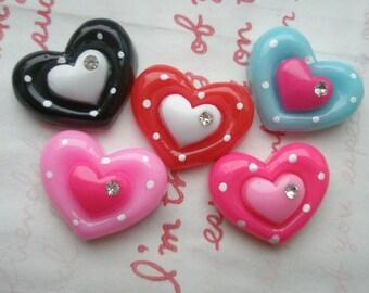 sale Double Heart with rhinestone 5pcs Set (polka dots)