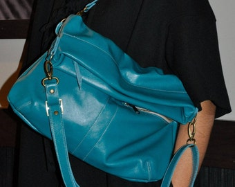 Teal Blue Large Leather Italian Leather Convertible Crossbody Bag – Oversized Clutch, Backpack, Shoulder Bag, 8-in-1, Made in USA