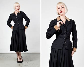Vintage 1950s New Look Wool Suit with Nipped Waist and Contrasting Brown Accents by Bass New York size Medium