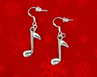 50% SALE Music Note Earrings..Music Earrings..Music Note Jewelry..Christmas Earrings..Christmas Jewelry..925 Silver Wires..FREE SHIPPING
