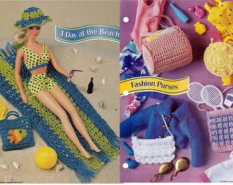 A Day At The Beach and Fashion Purses Crochet Patterns Annies Fashion Doll Crochet Club FC04-03 and FCC15-03