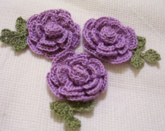 3 roses flowers violet/purple appliques scrapbooking sewn on home decor handmade embellishments