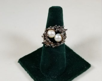 Vintage 925 Sterling Silver FSPO Pearl Birds Nest Ring Size 8.5 Esposito Jewelry Providence Rhode Island