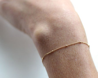 Gold Satellite chain bracelet - dainty gold chain bracelet - gold filled