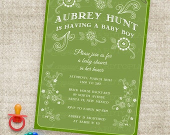 Southwest Baby Shower Invitation Flowers Stripes Mexican Spanish Fiesta Theme in Green DIY Printable Custom Professional Printing Option