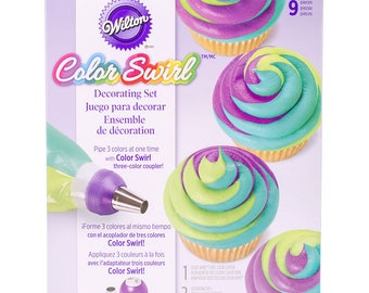 Cake Decorating Frosting Tip Set, Wilton Color Swirl Set, Icing Tips, Tri Colored Frosting Tip Set, Icing Tubes, Cake Decorating Kit