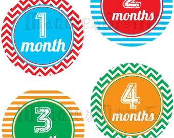 Monthly Baby Boy Stickers, Milestone Stickers, Baby Month Stickers, Monthly Bodysuit Sticker, Monthly Stickers (Chase)