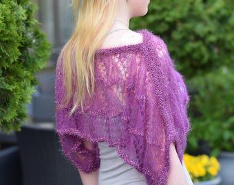 Violet wool bolero Handmade purple lace shrug Transparent knitted shrug Poncho