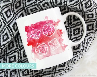 Polyhedral Dice Mug | Colour Options | 11oz White Ceramic Coffee Mug | Dungeons and Dragons | RPG | Gift for Geeks