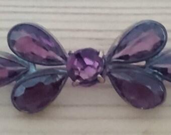 Vintage amethyst bar brooch