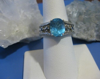 Blue Topaz and Sapphire ring sz 8