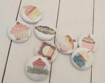 Cupcakes, Flair Buttons, Set of 8, 1 inch, Hey Cupcake, Scrapbook, Fashion, Planners, Book Bags, Dessert, Birthday, F055
