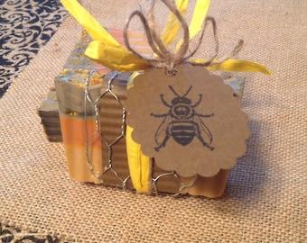 Multi-layered Honey Orange Valencia Bee Pollen Soap