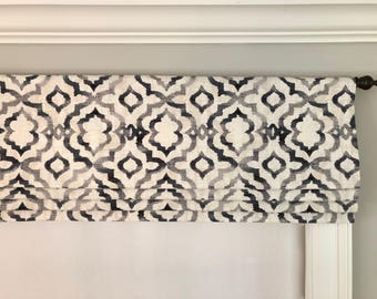 Faux (fake) flat roman shade valance. Custom Sizing. Kelly Ripa Home Good Vibes Ebony.  Black, Grey and Cream.  Other colors are available:)
