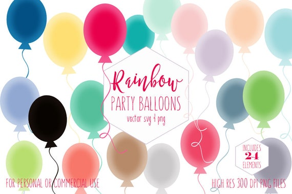 BIRTHDAY PARTY BALLOONS Clipart for Commercial Use Planner