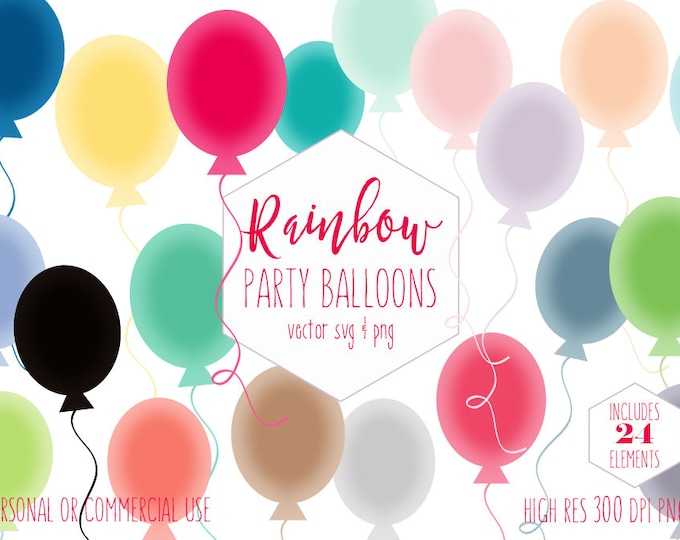 BIRTHDAY PARTY BALLOONS Clipart for Commercial Use Planner Sticker Clip Art Round Balloons Rainbow Colors Vector Digital Graphic Balloon Svg