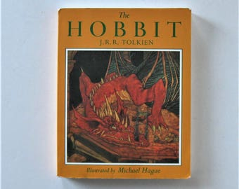 "Vintage ""The Hobbit"", illustrated by Michael Hague, J.R.R. Tolkien, circa 1984, paperback, classic literature, fantasy, gift idea"