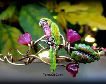 Organic WireWrap Parrot Bracelet Pink flowers with Gold Vine Hand  Painted Bracelet