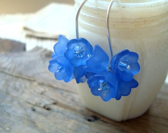 Dark Blue Flower Cluster Earrings Bridesmaid Jewelry Sterling Silver Metalworked Spring Fashion Floral Earrings Bridal Jewelry