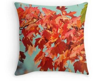Fall Toss Pillow, Fall Foliage Print, Orange Leaves Print, Fall Pillow, Fall Photo, Fall Trees Pillow, Fall Scenic Print
