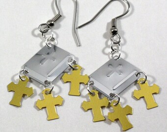 Religious Earrings Silver Bibles Three Gold Crosses Dangling Plastic Sequin Jewelry