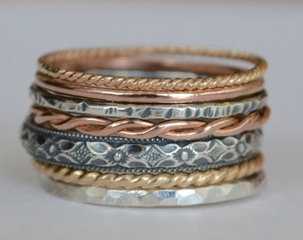 Art Deco Stacking Rings 14k Yellow and Rose Gold Filled and Sterling Silver