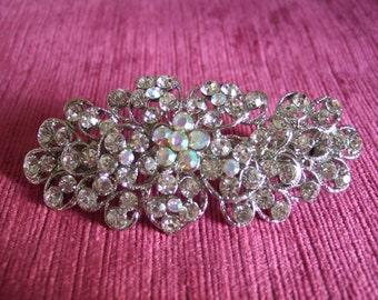 Sparkly crystal silver flower vintage barrette, Bridal barrette, French clip, Wedding barrette, Bridal Hair clip. Crystal hair clip