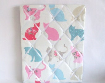 Pink Cat Memo Board, Office, Study, Student, Fabric, Cushion ,Home Decor, Handmade, Fabric, Home, Home and Garden, Free Postage