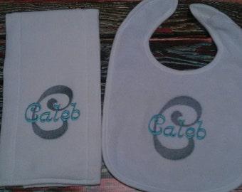 Personalized Burp Cloth and Bib set, personalized baby set, personalized baby item, baby boy gift
