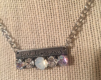 Mom Swarovski crystal necklace and earring set