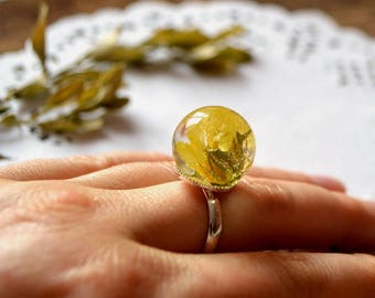 yellow ring flowers jewelry womens gift for her christmas gift for wife nature jewelry resin jewelry yellow jewelry resin flower ring yellow