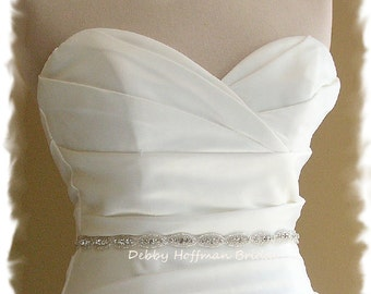 Thin Bridal Belt, 26 Inch Wedding Dress Sash, Rhinestone Crystal Belt, Jeweled Wedding Belt, Rhinestone Sash, Bridesmaid Belt, No. 4070S-26