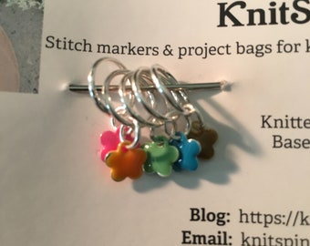 Snag-free knitting stitch markers -- set of five -- enameled flower charms
