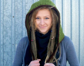 The Robin Hood in Olive - Adult sized Hood, Folklore, Woodland Hat