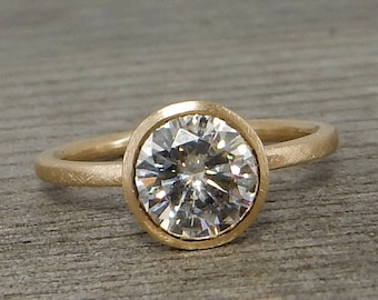 Forever One G-H-I Moissanite and Recycled 14k Yellow Gold Solitaire Engagement Ring with Stackable Peekaboo Bezel Setting, Made to Order
