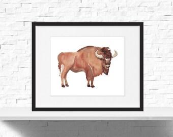 Watercolor Bison Print, Animal Nursery Print, Kids Bison Room, Bison Decor, Wild West, Bison Print, Instant Download, Nursery Printable 10x8