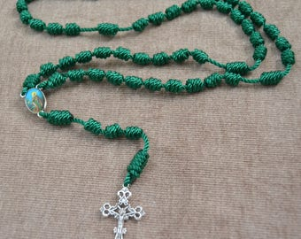 Santa Marta de Betania Green Regular Rope Rosary with Metal Cross and Pendent