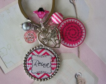 Personalized Sweet 16 Keychain in hot pink and light grey