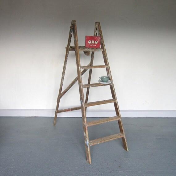 Vintage Pine Step Ladders Old Painted Rustic Antique